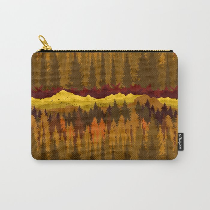 PNW Mountain Landscape in Autumn Sunset Orange Carry-All Pouch