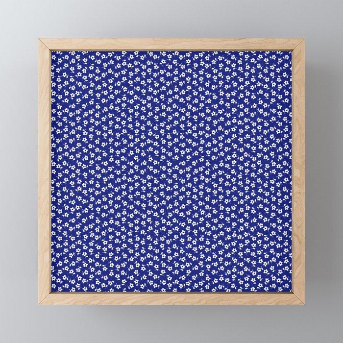 Forget Me Nots - White on Blue Framed Mini Art Print