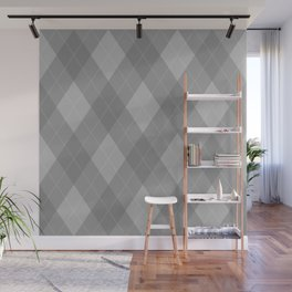 Argyle Fabric Pattern - Graphite Silver Gray / Grey Wall Mural