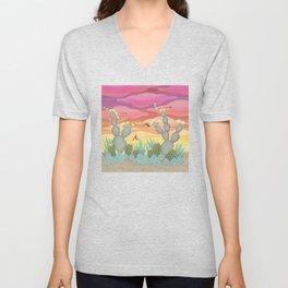 rufous hummingbirds & cactus Unisex V-Neck