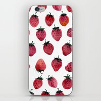 strawberry iPhone & iPod Skins featuring Strawberry by Tanya_Vazh
