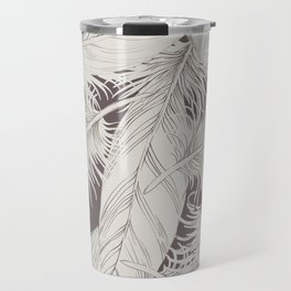 Feathers on brown background Travel Mug