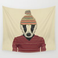 badger Wall Tapestries featuring seb the badger  by bri.buckley