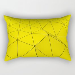 Yellow low poly displaced surface with black lines Rectangular Pillow
