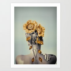 WOMAN WITH FLOWERS 2 Art Print