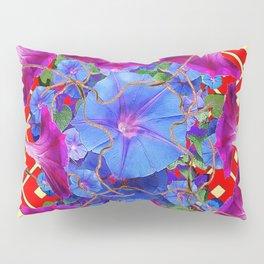 Bold Red Harmonious Purple-Blue Floral Art Pillow Sham