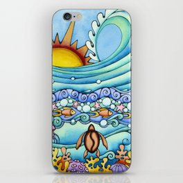 Sunrise Surf Turtle Ocean Sea Coral Honu Sun Waves Fish Water iPhone Skin