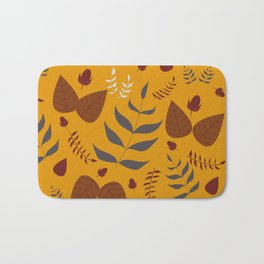 Autumn leaves and acorns - ochre and brown Bath Mat