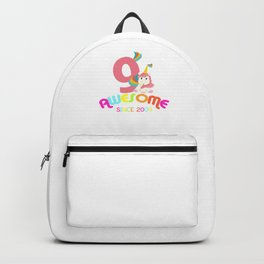 Awesome Since 2009 Unicorn 9th Birthday Anniversaries Backpack