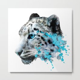 Watercolor snow panther leopard artsy watercolour cougar painting Metal Print