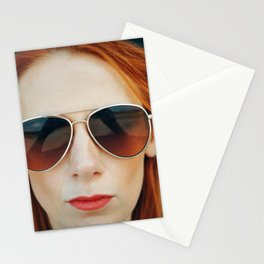 Red Hair Don't Care Stationery Cards