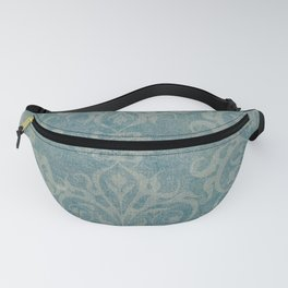 Antique rustic teal damask fabric Fanny Pack