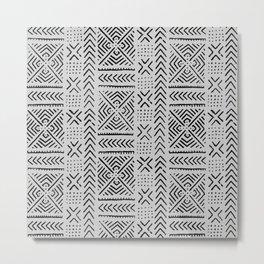 Line Mud Cloth // Light Grey Metal Print