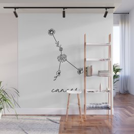 Cancer Floral Zodiac Constellation Wall Mural