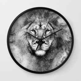 Lion Black and White Wall Clock