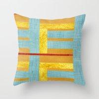 50s Throw Pillows featuring 50s block colour by Pagan Sovereign Studios