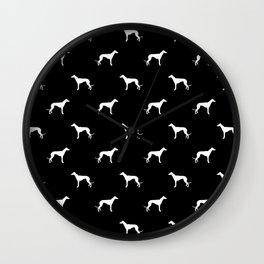Greyhound black and white minimal dog silhouette dog breed pattern Wall Clock