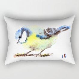 Watercolour Cute Blue Tit Bird by ili Rectangular Pillow