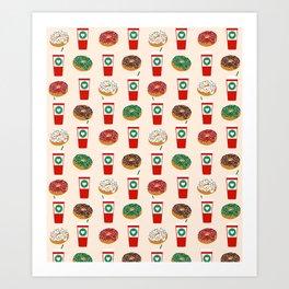 Coffee donuts foodie brunch breakfast desserts coffee lovers gifts Art Print