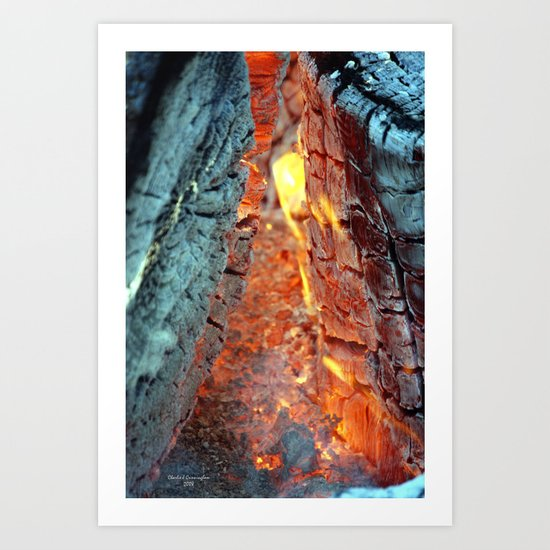 Burning Logs Art Print