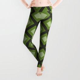 Green and Gray Zigzag Square Checker Pattern Leggings