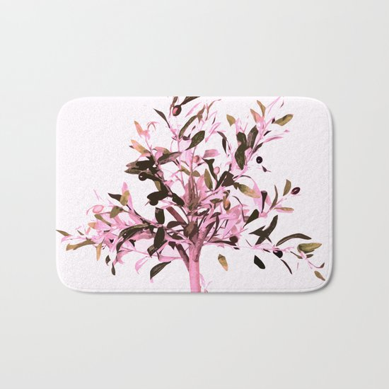 Little olive tree with pink tones on a white background Bath Mat