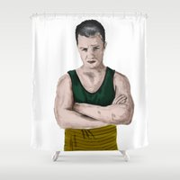 shameless Shower Curtains featuring Oh Mickey by Adele Carne Creations