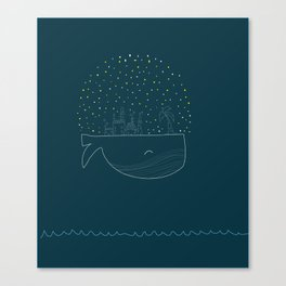 Sky Whale Island Canvas Print