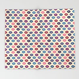 Retro Lips Pattern Throw Blanket