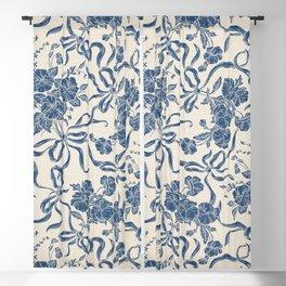 Chic Modern Vintage Ivory Navy Blue Floral Pattern Blackout Curtain