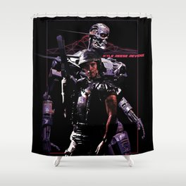 Kyle Reese Revenge Aliens Terminator 80s synthwave Shower Curtain