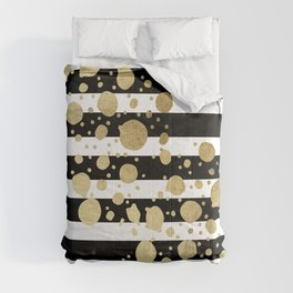 Faux Gold Paint Splatter on Black & White Stripes Comforters