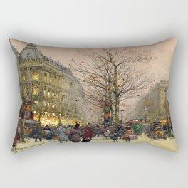 Les Grands Boulevards, Paris by Eugene Galien Laloue Rectangular Pillow