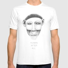 human after all... SMALL White Mens Fitted Tee