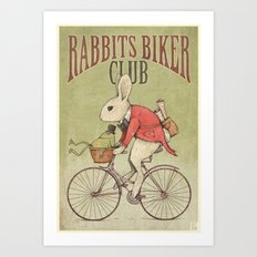 Rabbits Biker Club Art Print