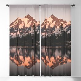 Alpenglow - Mountain Reflection - Nature Photography Blackout Curtain