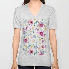 Watercolor Flowers Unisex V-Neck