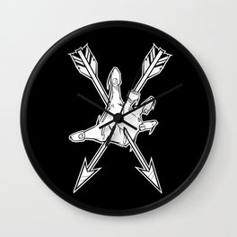 Zombie resistance badge black & white Wall Clock