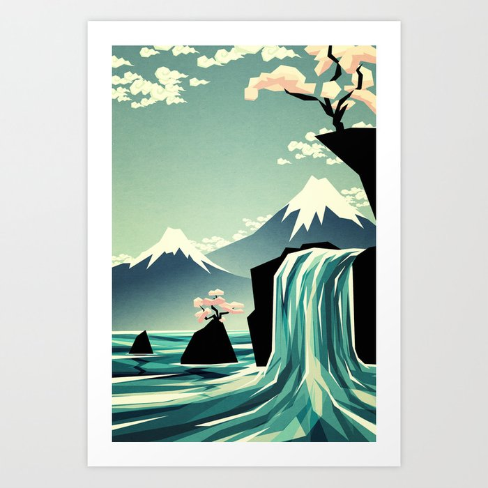 Discover the motif WATERFALL BLOSSOM DREAM by Yetiland as a print at TOPPOSTER