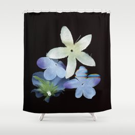 Artificial Flowers Glitched Scan Shower Curtain