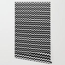 Black White & Grey Chevron Print Pattern Wallpaper