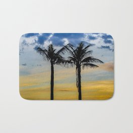 Palm Trees against Sunset Sky Bath Mat