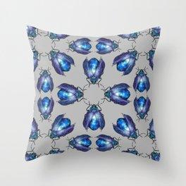 Black Opal Beetles Pattern Throw Pillow