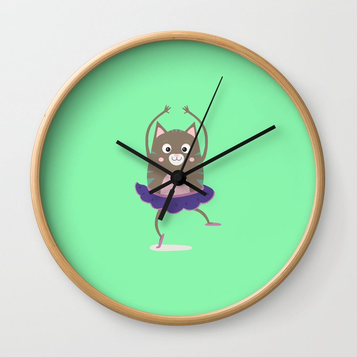 Cat Ballerina Dancing T-Shirt for all Ages Dfnq7 Wall Clock