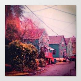 Astoria Oregon Neighborhood Houses, Grand Street in October Canvas Print