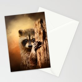 Peek-A-Boo! Cute Raccoon Photo Art Stationery Cards