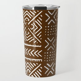 Line Mud Cloth // Brown Travel Mug