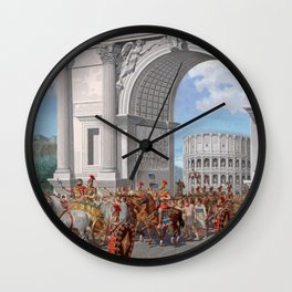 Classical Masterpiece: Roman Legion in Triumphal Procession by Herbert Herget Wall Clock