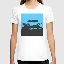 Saab 99 EMS, Light Blue on Black T-shirt