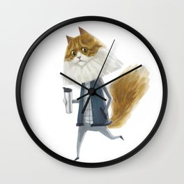 A cat holding a tumbler Wall Clock